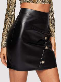 Button Front PU Bodycon Skirt