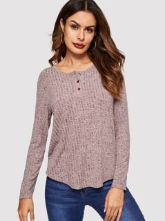 Buttoned Front High Low Marled Tee