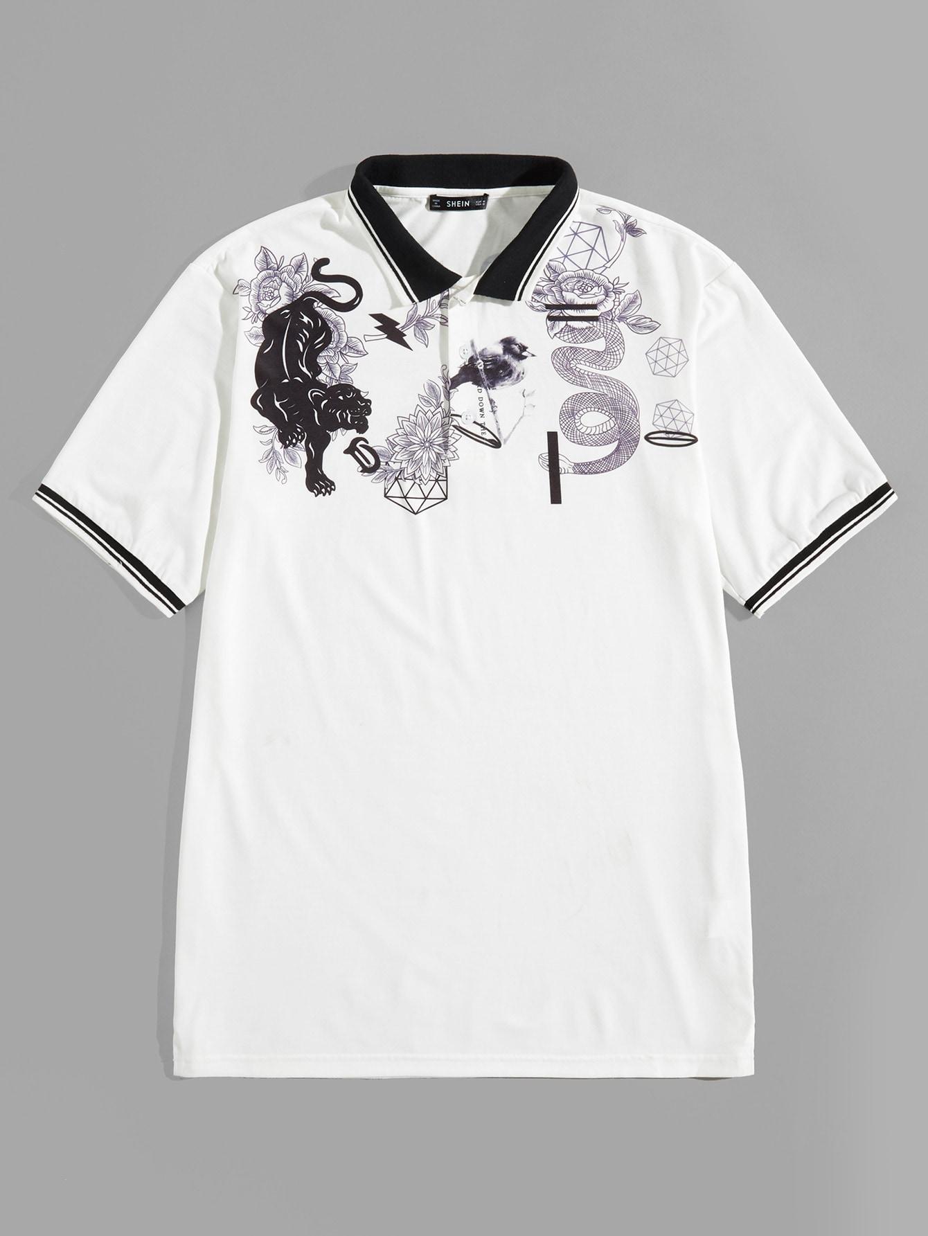 Купить Мужская рубашка-поло с контрастным вырезом и принтом животных, null, SheIn