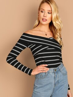 Cross Wrap Rib-knit Striped Bardot Tee