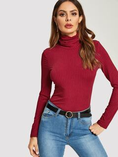 High Neck Rib-knit Form Fitted Tee