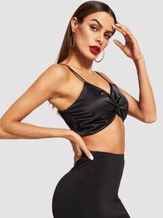 Twist Front Shirred Panel Cami Top