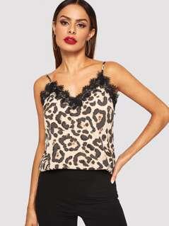 Eyelash Lace Trim Leopard Cami Top