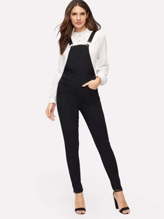 Button Side Pocket Patched Solid Jumpsuit