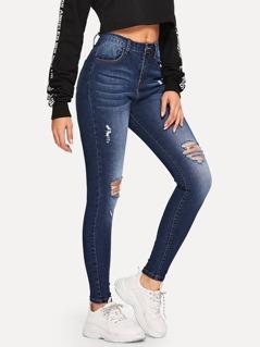 Bleach Dye Ripped Jeans