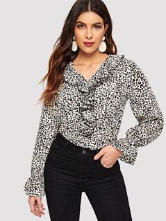 Leopard Print Ruffle Trim Top