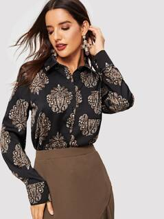 Pocket Patched Ornate Print Shirt