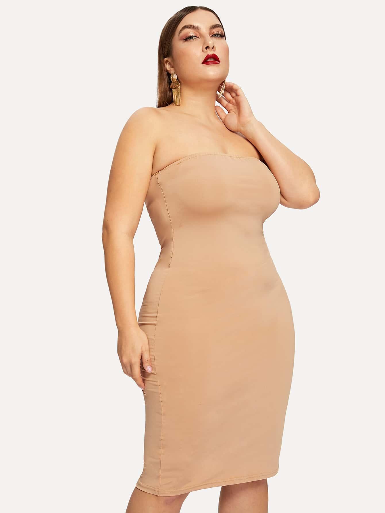 Купить Размера плюс приталенное однотонное платье, Franziska, SheIn