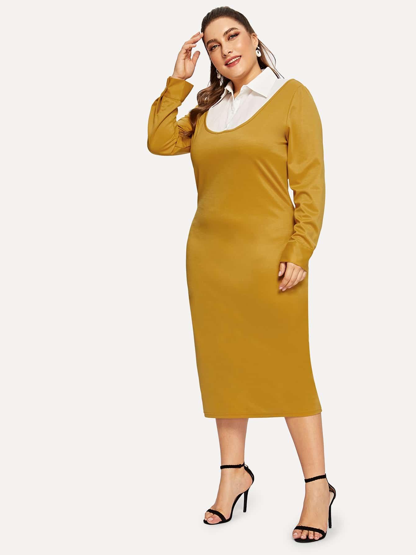 2 в 1 прилегающее платье размера плюс