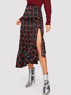 Asymmetrical Ruffle Hem Chain Print Skirt