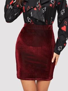 Elastic Waist Bodycon Velvet Skirt