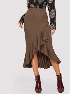 Asymmetrical Ruffle Hem Solid Skirt