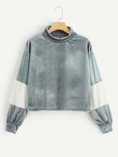 Drop Shoulder Mock-neck Velvet Pullover