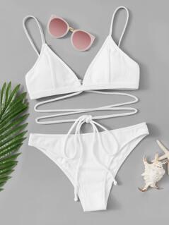 Lace Up Solid Rib-knit Bikini Set