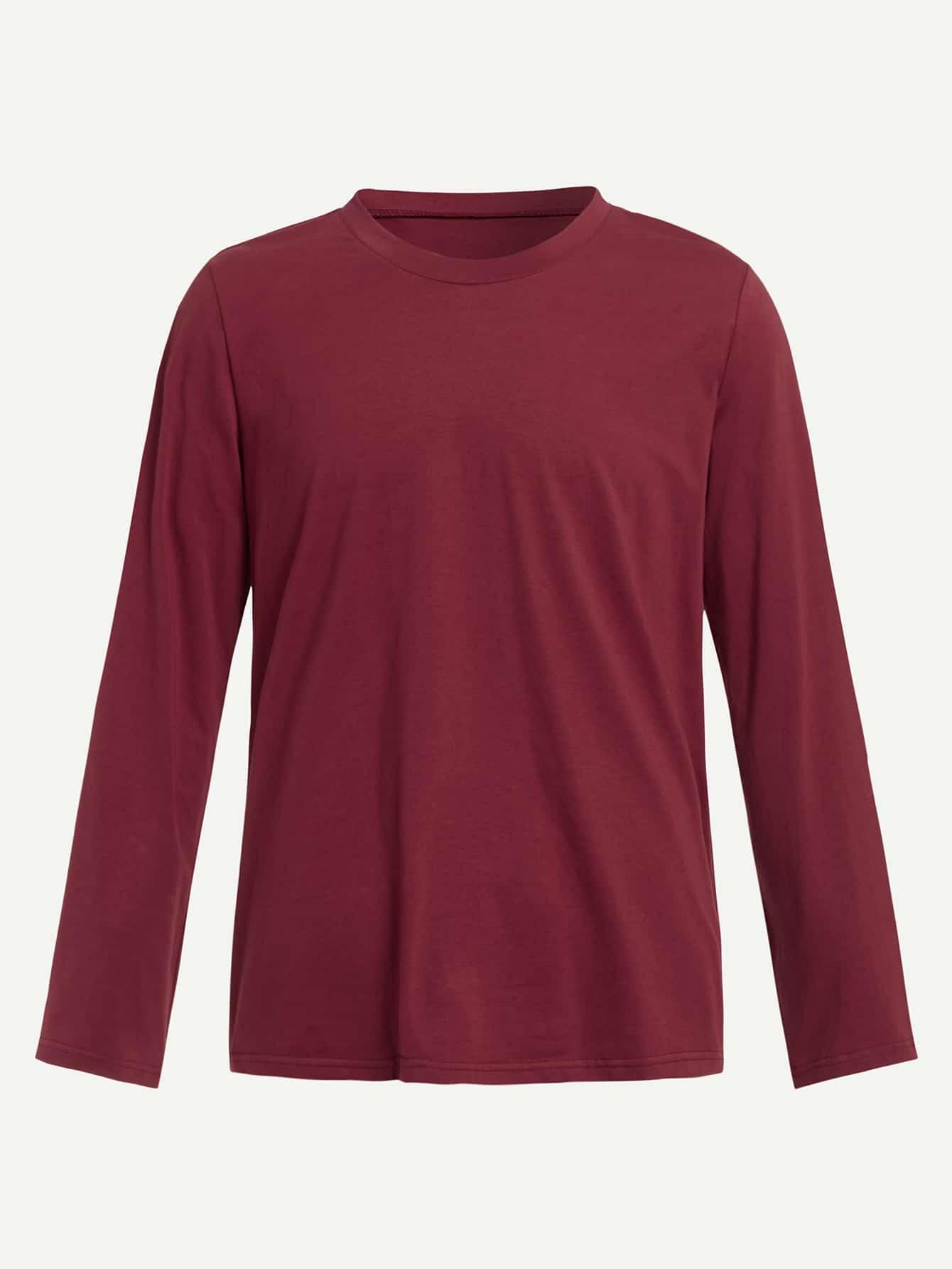 Купить Мужская однотонная футболка с круглым воротником, null, SheIn