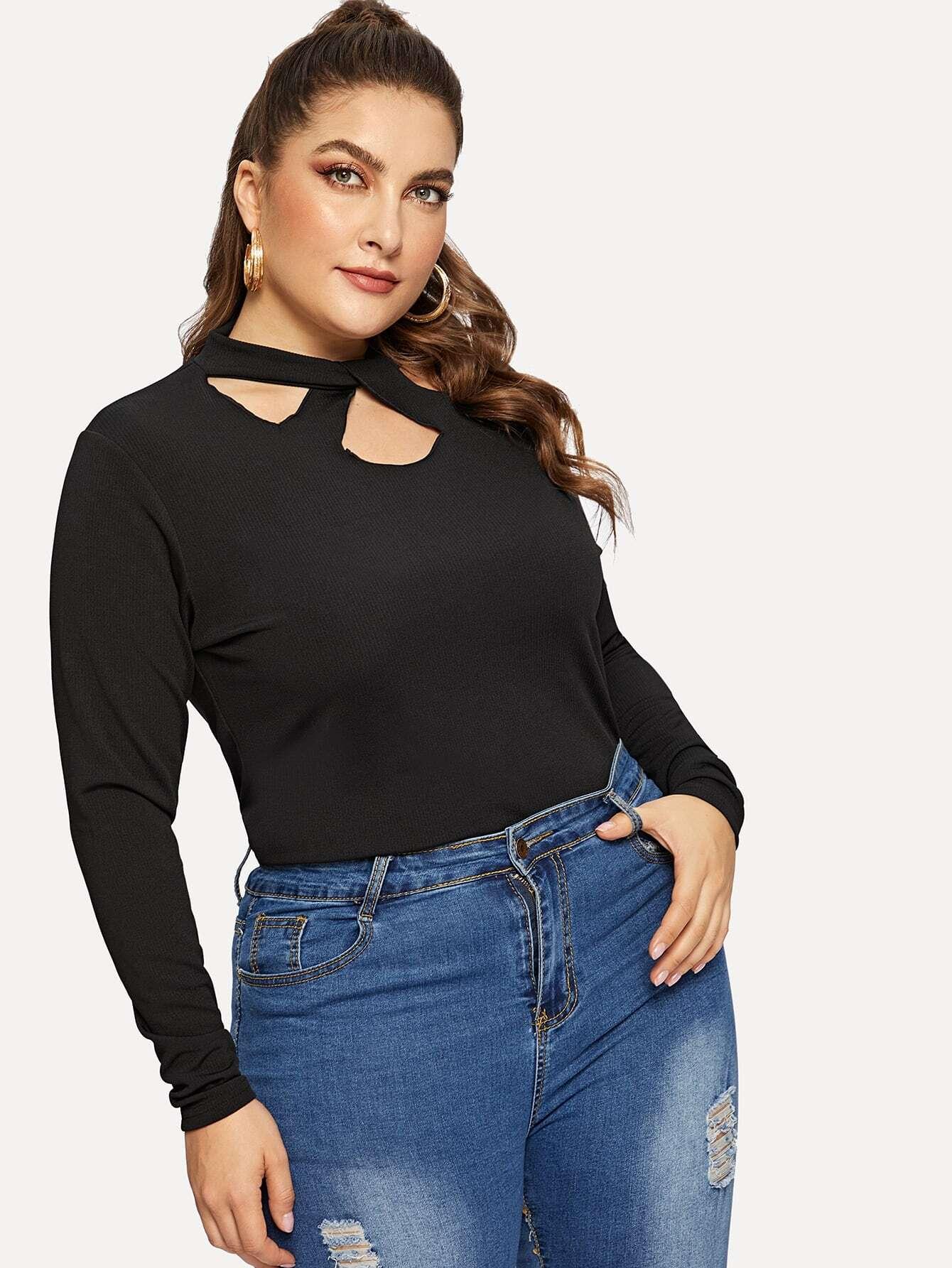 Купить Размера плюс однотонная футболка со стоячим воротником и витой, Franziska, SheIn