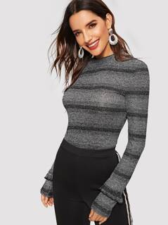 Frill Detail Mock-neck Striped Marled Knit Top