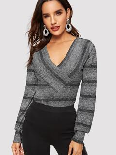 Surplice Neck Striped Marled Knit Top