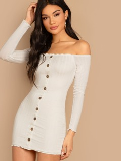 Button Detail Bardot Style Rib Knit Mini Dress
