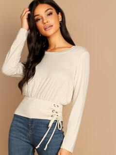 Corset Lace Side Round Neck Jersey Knit Top