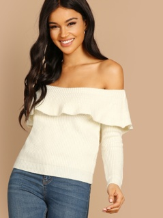 Off The Shoulder Ruffle Knit Pullover Sweater