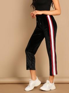 Side Stripe Elastic Waist Velvet Track Pants