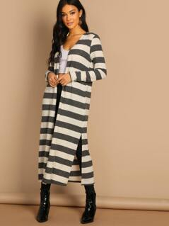 Striped Side Slit Open Front Duster Cardigan