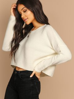 Round Neck Thick Rib Knit Pullover Jumper