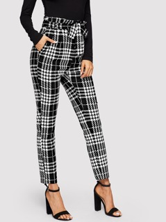 Frilled Waist Plaid Pants