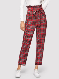 Paperbag Waist Plaid Peg Pants With Belt