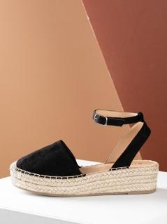 Closed Toe Espadrille Platform Wedge Sandal BLACK