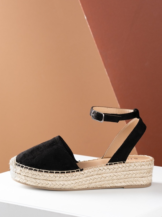 Black Closed Sandal Wedge Toe Espadrille Platform SLqUMVpzG