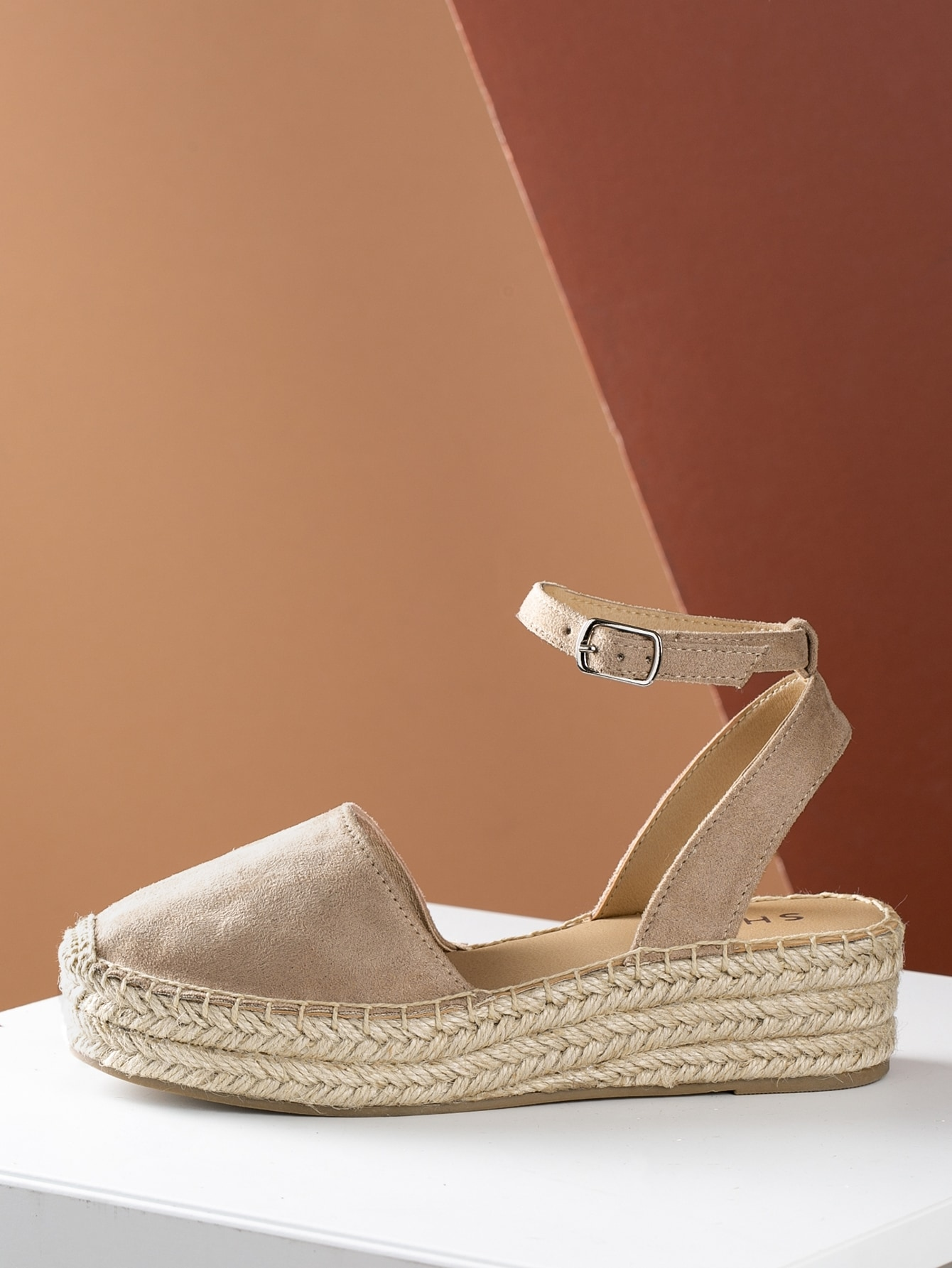 1e74c72f164 Closed Toe Espadrille Platform Wedge Sandal TAUPE