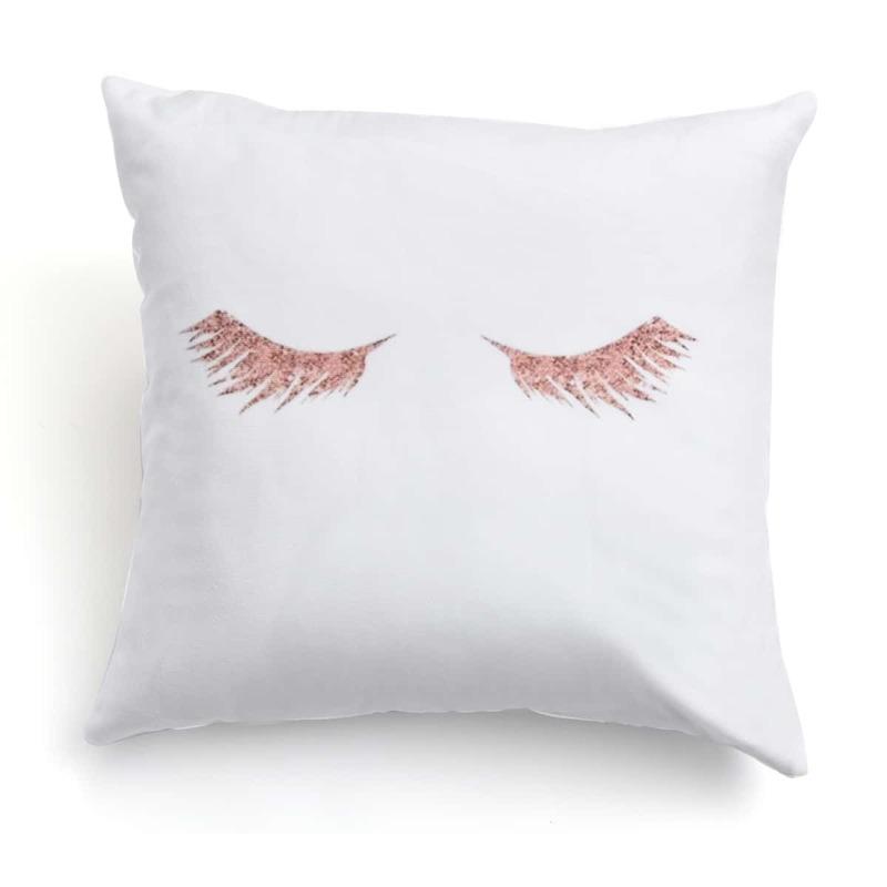 Eyelash Print Cushion Cover, White