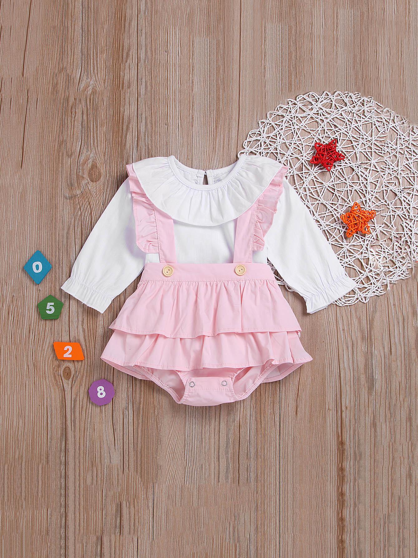 Купить Блуза с вырезом сзади и комбинезон с кружевными оборками для маленьких девочек, null, SheIn