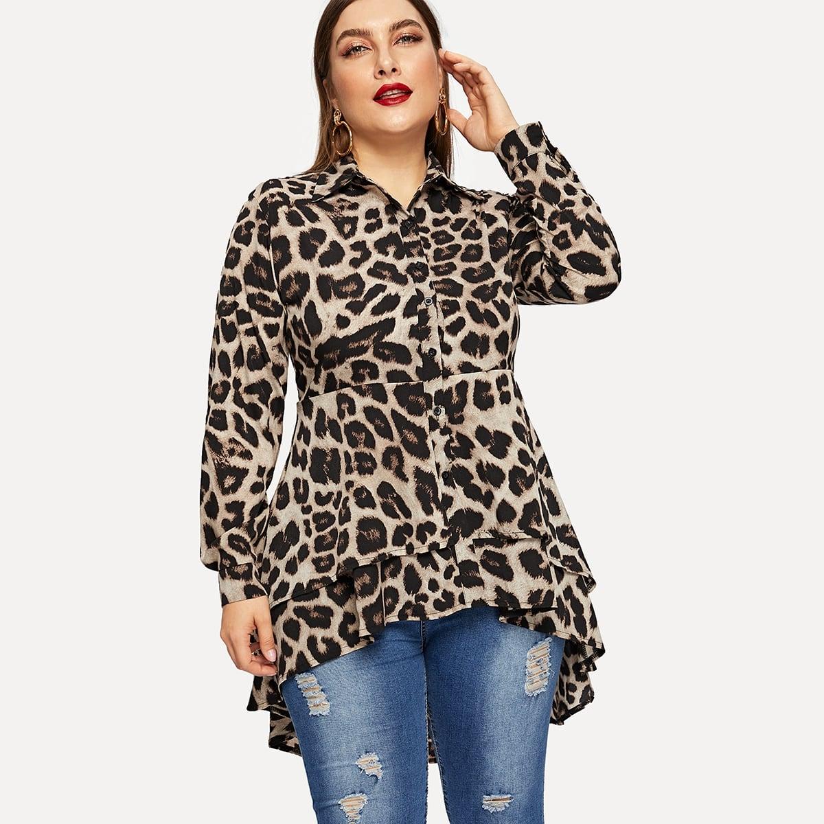 Блуза С Длинным Рукавом И Асимметричным Низом И Леопардовым Принтом
