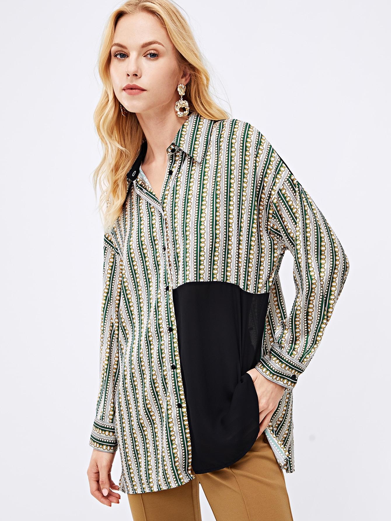 Купить Контрастная плоская блуза с графическим принтом, Denisa, SheIn