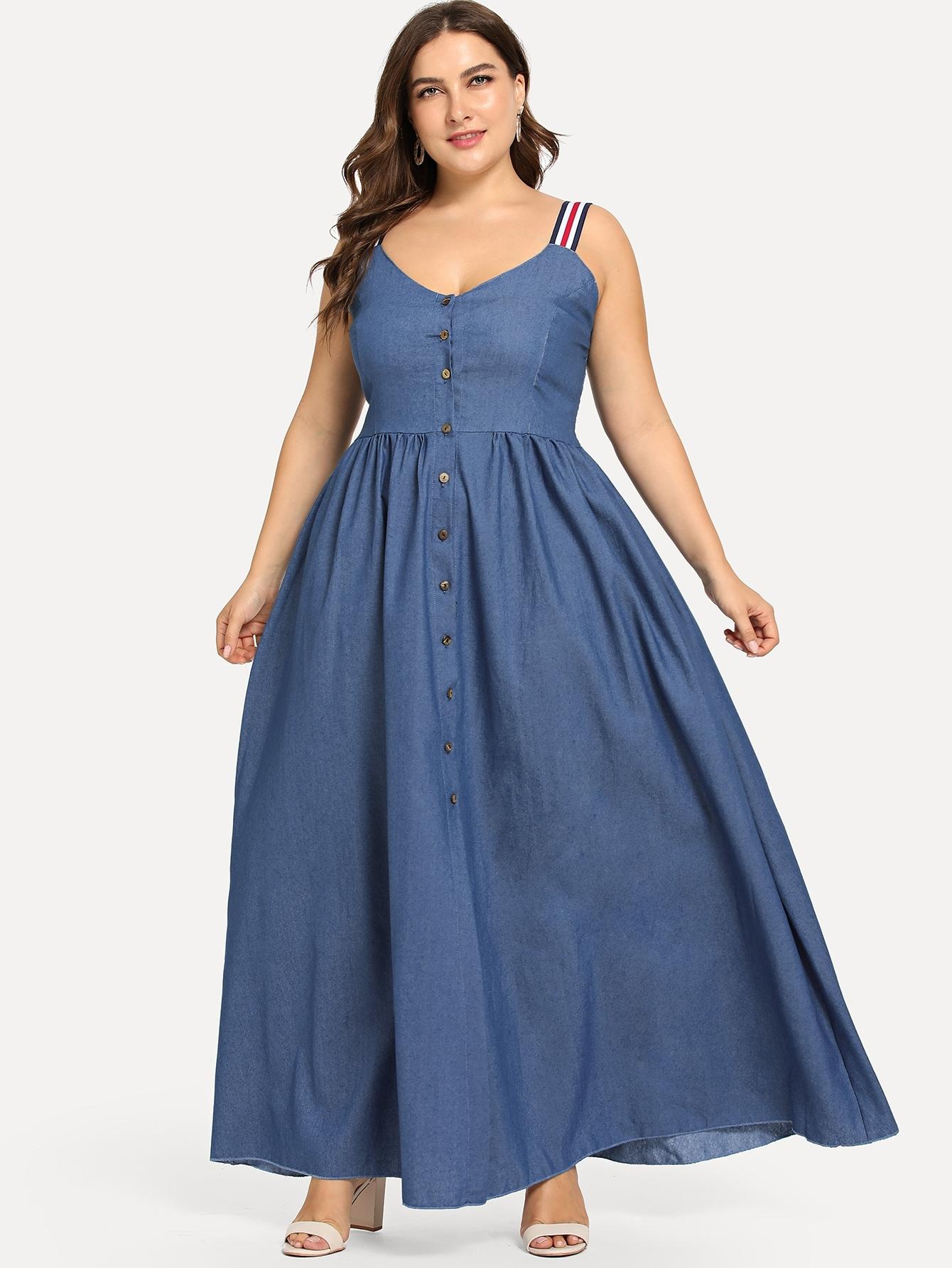 Купить Большое платье с украшением пуговицы, Franziska, SheIn