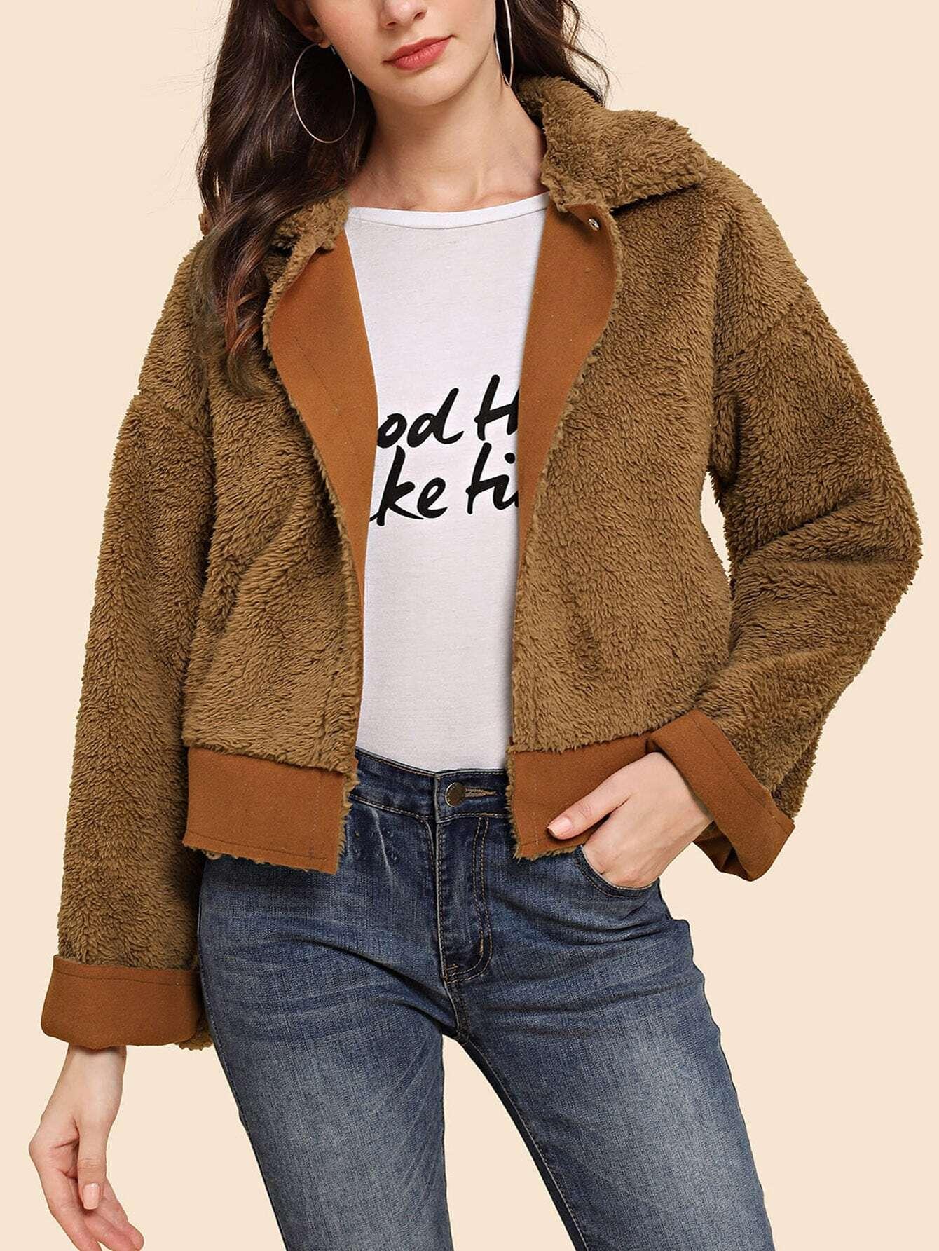 Купить Тедди куртка с заниженной линией плеч, Kate B, SheIn