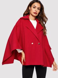 Batwing Sleeve Surplice Wrap Coat