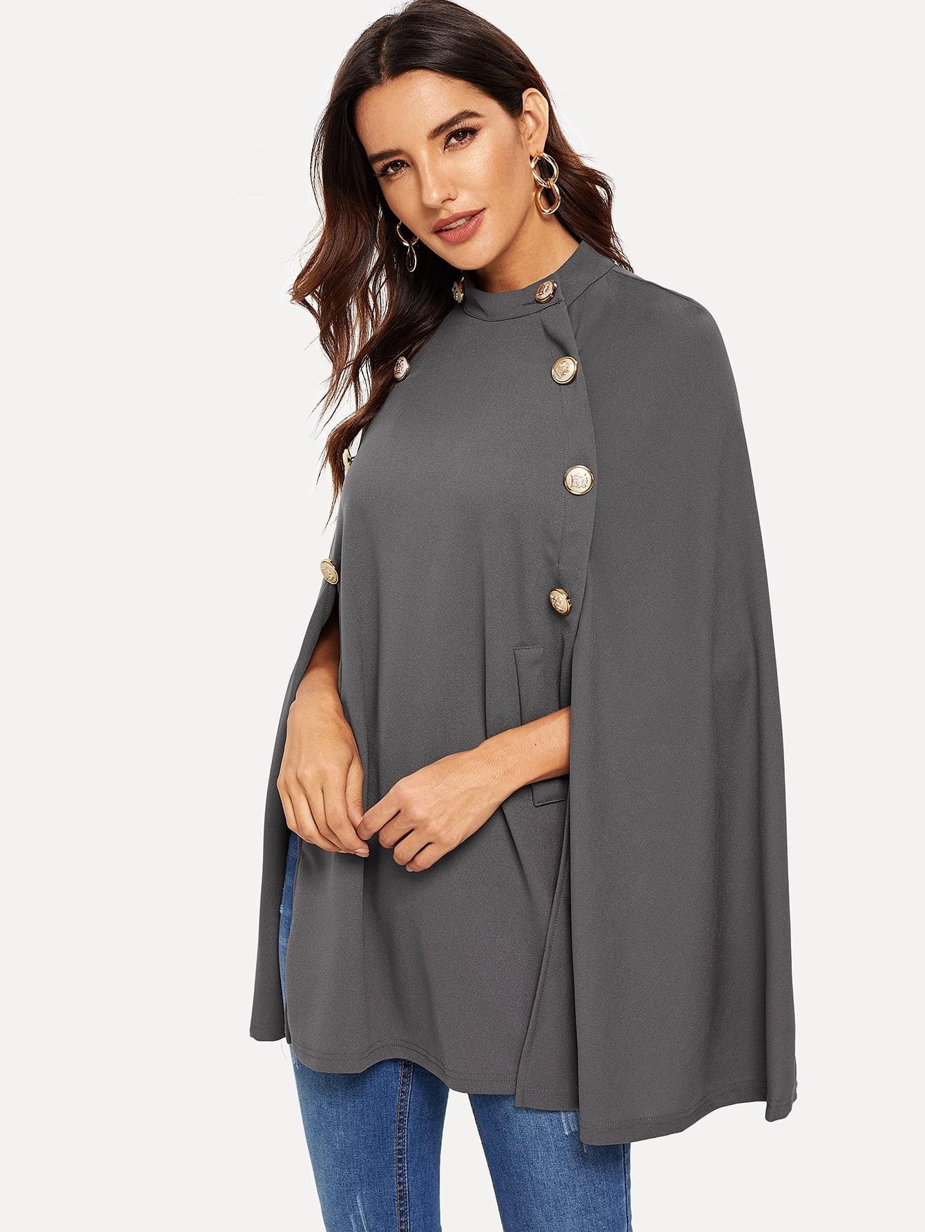 Фото - Однотонное двубортное пальто-пончо от SheIn серого цвета