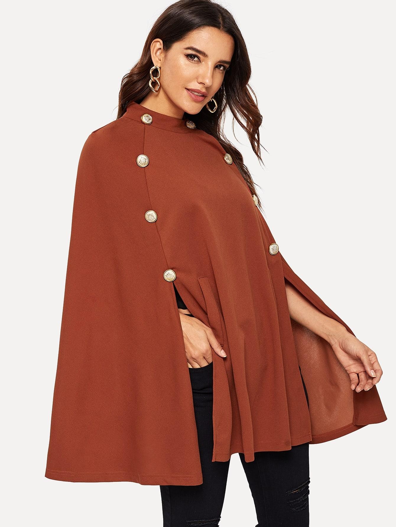 Фото - Пальто-пончо с пуговицами и стоячим воротником от SheIn коричневого цвета