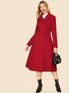 Notch Collar Double Button Notch Collar Solid Coat
