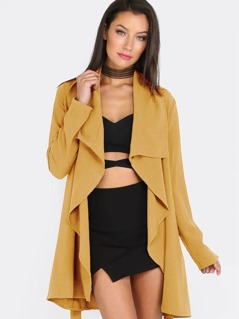 Draped Collar Self Belted Solid Coat