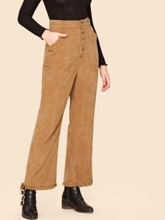 70s Slant Pocket Raw Hem Buttoned Corduroy Pants
