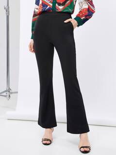 High Waist Solid Boot-cut Leg Pants