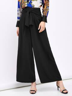 Tie Waist Solid Wide Leg Pants