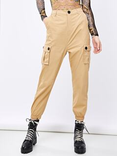 Button Front Flap Pocket Cargo Utility Pants