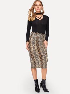 Tie Waist Snake Pattern Skirt