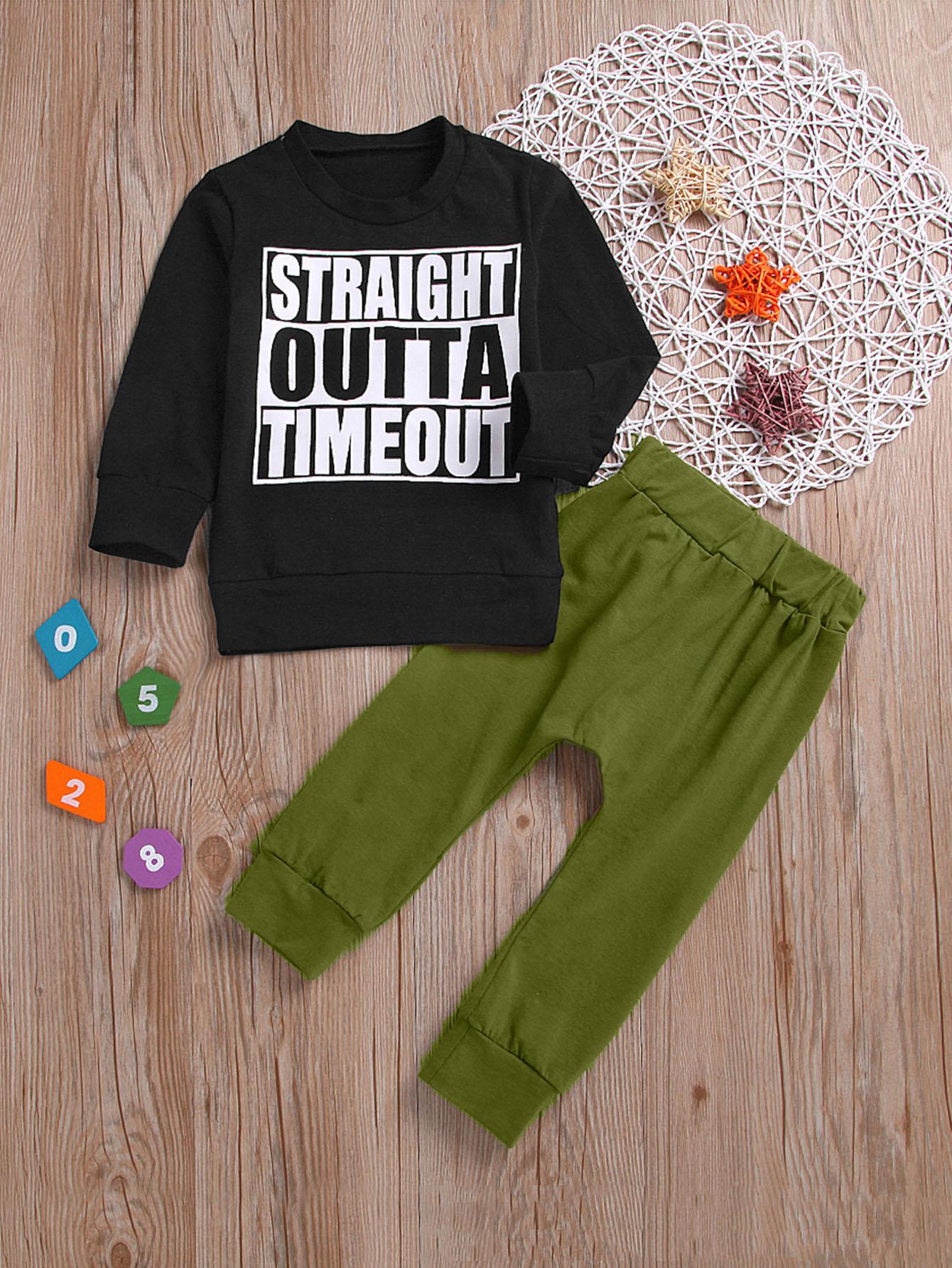Купить Свитшот с текстовым принтом для маленьких мальчиков и однотонные брюки для маленьких мальчиков, null, SheIn